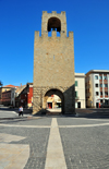 Oristano / Aristanis, Oristano province, Sardinia / Sardegna / Sardigna: tower of San Cristoforo / Mariano II / Porta Manna - built in 1290 under the orders of Mariano II, giudice of Arborea - piazza Roma - photo by M.Torres