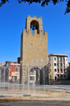 Oristano / Aristanis, Oristano province, Sardinia / Sardegna / Sardigna: fountain and tower of San Cristoforo / Mariano II / Porta Manna - piazza Roma - photo by M.Torres