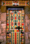 Saudi Arabia - Asir province - Khamis Mushayt / AHB: Bin Hamsen typical village - door - geometrical motives - photo by F.Rigaud