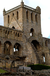 Jedburgh, Borders, Scotland: the Abbey - tower - photo by C.McEachern