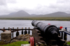 Scotland - Islay Island - Port Askaig: cannon pointing directly towards the Paps of Jura across the Sound of Islay - Islay was vulnerable to pirates and other invaders - photo by C.McEachern