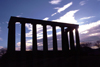 Scotland - Ecosse - Edinburgh: National Monument - Greek temple at dusk - homage to the victims of the Napoleonic Wars - photo by F.Rigaud