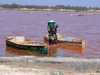 Senegal - Lake Retba or Lake Rose:  bringing the salt onto the shore - photo by G.Frysinger