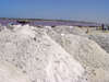 Senegal - Lake Retba or Lake Rose: salt piled into different grades - photo by G.Frysinger
