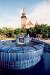 Serbia - Vojvodina - Subotica / Szabadka: fBlue Fountain and City Hall - Trg Republike - photo by M.Torres