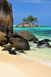 Mahe, Seychelles: Anse Royal - ile Souris, beach and large rocks - photo by M.Torres