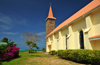 Mahe, Seychelles: Anse Royal - Church - blue, red, green and yellow - photo by M.Torres
