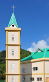 Mahe, Seychelles: Pointe Larue - Catholic church with campanile - photo by M.Torres