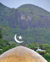 Mahe, Seychelles: Victoria - crecent and star - dome of the Sheik Muhammad Bin Khalifa Al-Nahagan mosque - photo by M.Torres