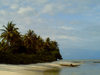 Turtle Islands, Southern Province, Sierra Leone: unspoilt beach and canoe - photo by T.Trenchard