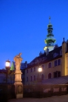 Slovakia / Slowakei - Bratislava: Statue St Michael and the tower of St Michael's Gate - photo by J.Kaman
