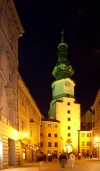 Slovakia / Slowakei - Bratislava: St. Michael's gate and tower - Michalská street - nocturnal - photo by J.Kaman