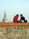 Slovakia / Slowakei - Bratislava: couple and the spire of St Martin's Cathedral  - photo by J.Kaman