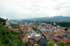 Western Slovakia / Západoslovenský - Trencín: Mierové Square and town center seen from the castle (photo by P.Gustafson)