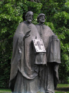 Slovakia - Nitra /  Neutra/ Nyitra : Statue of Saints Cyril and Methodius - photo by J.Kaman