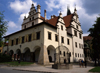 Slovakia - Levoca - Presov Region: Old medieval Town Hall with 'cage of shame' punishment cage - photo by J.Fekete