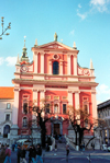 Slovenia - Ljubljana / LJU : baroque-style Franciscan Church of the Annunciation of Mary - Presernov square - Franciskanska cerkev Marijinega - photo by M.Torres