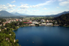 Slovenia - View of Bled town and lake from the castle - photo by I.Middleton