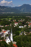 Slovenia - View across Bled to church of Saint Martin from Castle - photo by I.Middleton