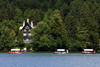 Slovenia - Row of Pletna boats on Lake Bled - forest - photo by I.Middleton