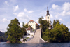 Slovenia - View across to the island church on Lake Bled - photo by I.Middleton