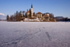 Slovenia - frozen lake Bled and the island church of the Assumption of Mary - Cerkev Marijinega vnebovzetja - photo by I.Middleton