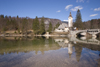 Slovenia - Ribcev Laz - Church of St John the Baptist / Sv. Janez church and the stone bridge - View across Bohinj Lake in Spring - photo by I.Middleton