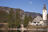 Slovenia - Ribcev Laz - Church of St John the Baptist and mountains - Bohinj Lake in Spring - photo by I.Middleton