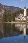 Slovenia - Ribcev Laz - church relection - Bohinj Lake in Spring - photo by I.Middleton