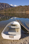 Slovenia - Ribcev Laz - small boat - Bohinj Lake in Spring - photo by I.Middleton