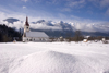 Slovenia - snow and church of Assumption of Mary in Bitnje - Bohinjska Bistrica - Bohinj Valley - photo by I.Middleton