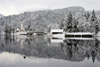 Slovenia - Ribcev Laz - view across Bohinj Lake in winter - photo by I.Middleton