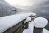 Slovenia - Ribcev Laz - pier and view across Bohinj Lake in winter - photo by I.Middleton
