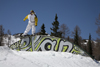Slovenia - Snowboarder on Vogel mountain in Bohinj - graffiti - photo by I.Middleton