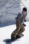 Slovenia - Snowboarder on Vogel mountain in Bohinj - camouflage - photo by I.Middleton