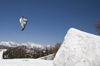 Slovenia - Snowboarder on Vogel mountain in Bohinj - jump, ramp and mountains - photo by I.Middleton
