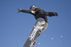 Slovenia - Snowboarder on Vogel mountain in Bohinj - board with gun - photo by I.Middleton