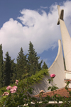 Slovenia - Portoroz: Church in shape of boat sail - cross - photo by I.Middleton