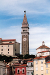 Slovenia - Piran: belfry of St Georges church above Tartini square - photo by M.Torres