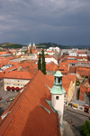 View from the bell tower of the Church of Saint John the Baptist of the red tiled roodtops of Maribor, Slovenia - photo by I.Middleton