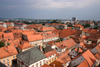 old and new - view from the bell tower of the Church of Saint John the Baptist of the red tiled roodtops of Maribor - photo by I.Middleton
