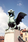 Slovenia - Ljubliana: dragon guarding the bridge - Zmajski most - photo by M.Torres