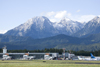 Slovenia - Brnik Airport: mountains and Terminal T1 of Ljubljana Joze Pucnik Airport - photo by I.Middleton