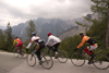 Slovenia - Julian Alps as cyclists race on Vrsic pass, the highest in Slovenia - photo by I.Middleton