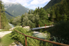 Slovenia - gorge with suspension bridge - Julian Alps from Vrsic pass - photo by I.Middleton