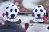 Confused spectators wearing football hats at the golden fox womens world cup slalom, Kranjska Gora, Slovenia - photo by I.Middleton