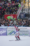 Womens world cup slalom - celebrating a good mark, Kranjska Gora, Podkoren, Slovenia - photo by I.Middleton