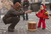 Slovenia - Ljubliana: Pust celebrations - drummer and monster - photo by I.Middleton