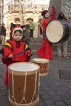 Slovenia - Ljubliana: Pust celebrations - drummers of all sizes - photo by I.Middleton