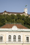 Slovenia - Ljubliana: top floor of the Philharmonic Academy with Ljubljana castle in background - photo by I.Middleton